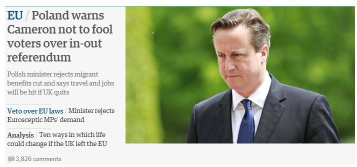 Guardian: Polska ostrzega Davida Camerona /http://www.theguardian.com/ /