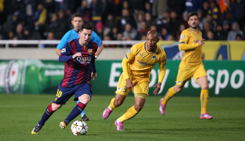 Gwiazda Barcelony Lionel Messi podczas meczu z APOEL-em Nikozja /AFP