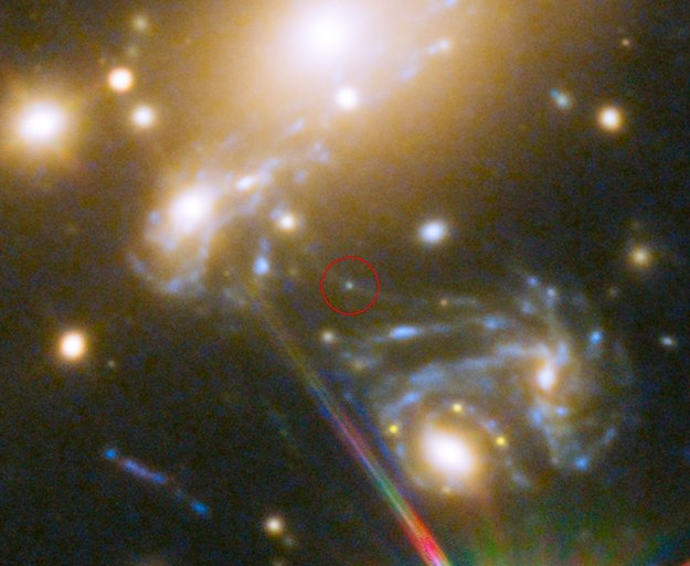 Gwiazda LS1. Fot. NASA, ESA, S. Rodney (John Hopkins University, USA) and the FrontierSN team; T. Treu (University of California Los Angeles, USA), P. Kelly (University of California Berkeley, USA) and the GLASS team; J. Lotz (STScI) and the Frontier Fields team; M. Postman (STScI) and the CLASH team; and Z. Levay (STScI)