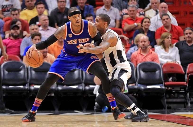 Gwiazdor New York Knicks Carmelo Anthony zdobył 35 punktów w meczu z Miami Heat /fot. Mike Ehrmann/me /AFP