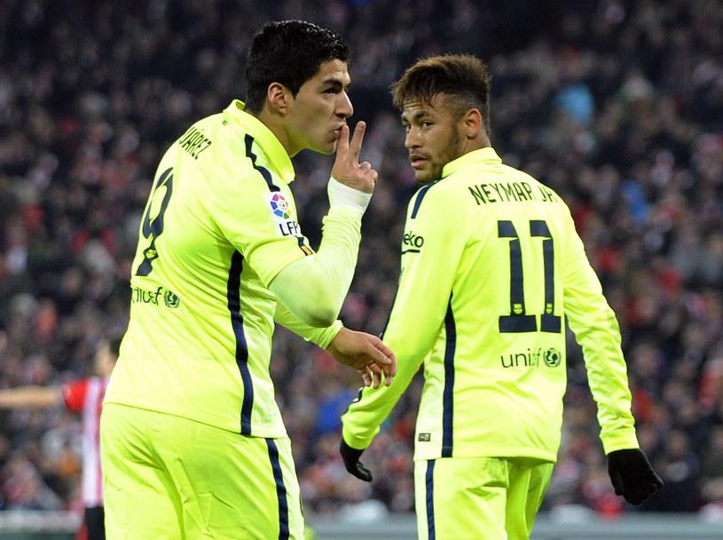 Gwiazdy Barcelony Luis Suarez (z lewej) i Neymar /AFP