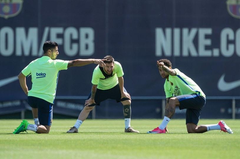 Gwiazdy Barcelony: Luis Suarez (z lewej), Lionel Messi (w środku) i Neymar /AFP