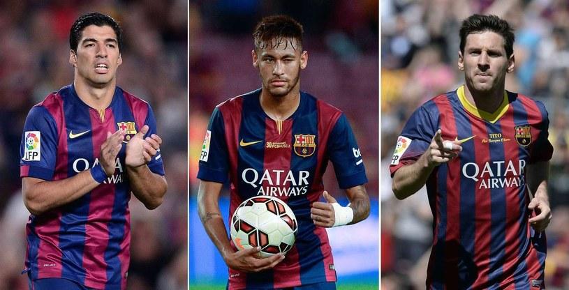 Gwiazdy Barcelony: Luis Suarez (z lewej), Neymar (w środku) i Lionel Messi /AFP