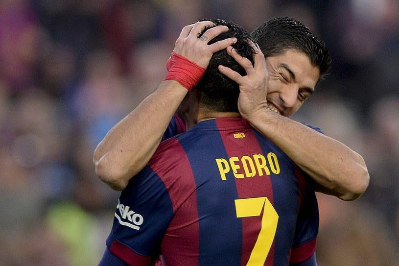 Gwiazdy Barcelony Luis Suarez (z prawej) i Pedro Rodriguez /AFP