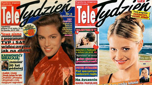 """Gwiazdy okładek 'Tele Tygodnia"""": Cindy Crawford (L) i Małgorzata Kożuchowska (P) /materiały prasowe"""