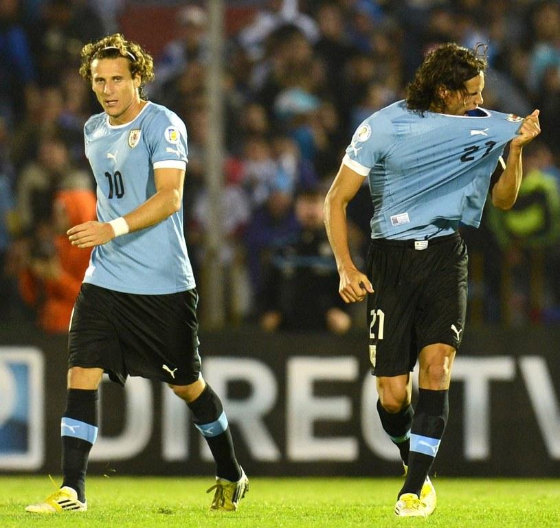 Gwiazdy reprezentacji Urugwaju Diego Forlan i Edinson Cavani /AFP