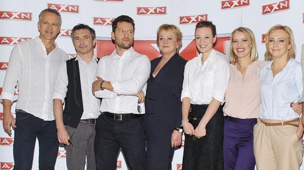 """Gwiazdy serialu """"Zbrodnia"""" podczas konferencji prasowej poświęconej nowej produkcji stacji AXN. /AKPA"""