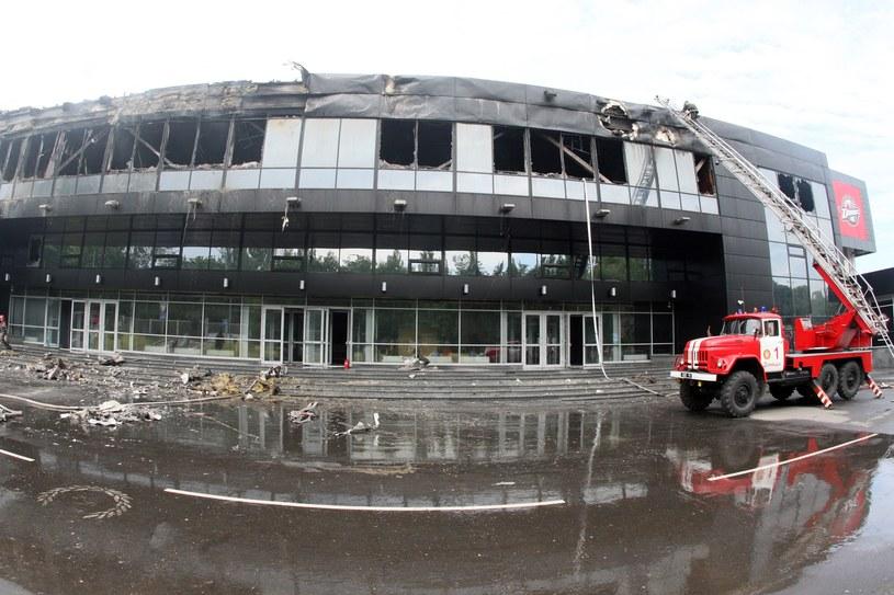 Hala w Doniecku została spalona przez separatystów /AFP
