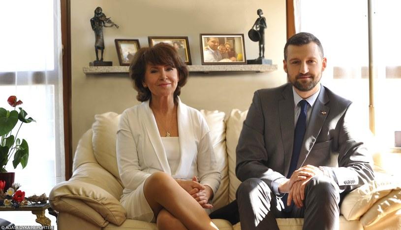 Halina Frąckowiak z synem Filipem /Agata Dyka /Reporter
