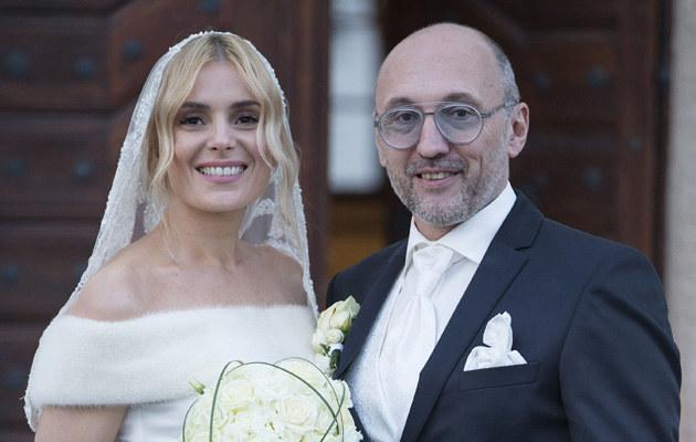 Halina Mlynkova z Leszkiem Wronką w dniu ślubu /Foto IP
