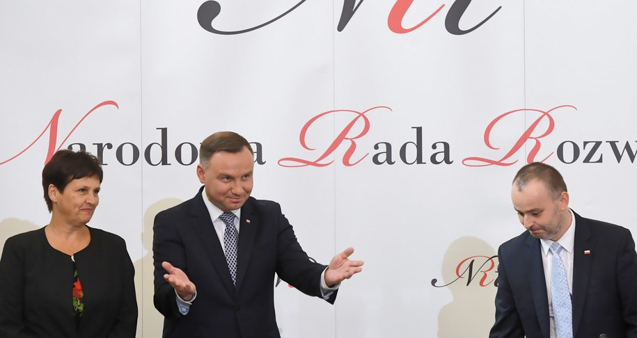 Halina Szymańska, Andrzej Duda i Paweł Mucha / Radek Pietruszka   /PAP
