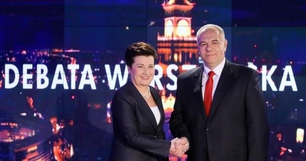 Hanna Gronkiewicz-Waltz i Jacek Sasin /PAP/Paweł Supernak /PAP