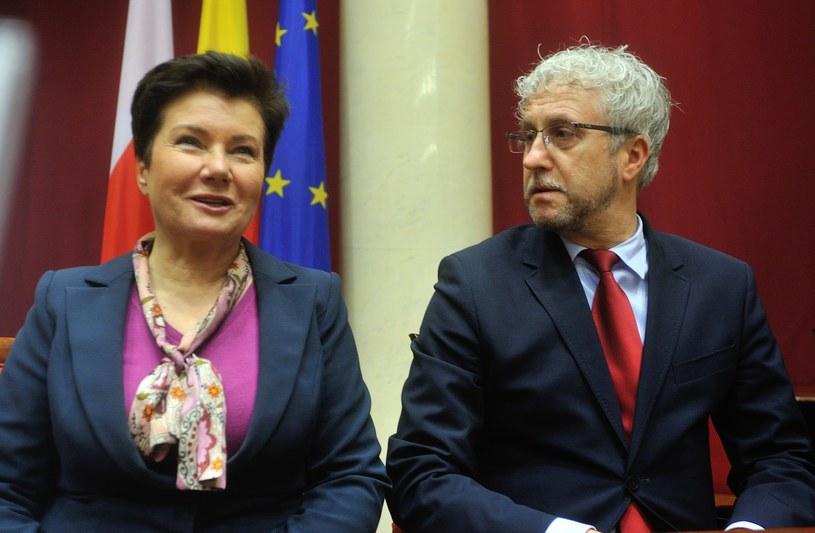 Hanna Gronkiewicz-Waltz i Jacek Wojciechowicz, 2014 rok /Witold Rozbicki /Reporter