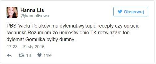 Hanna Lis na Twitterze /Twitter