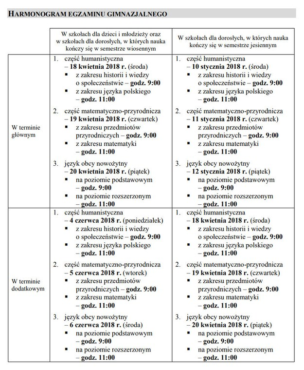 Harmonogram egzaminów /RMF FM