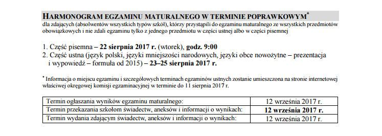 Harmonogram egzaminu maturalnego w terminie poprawkowym. /Centralna Komisja Egzaminacyjna