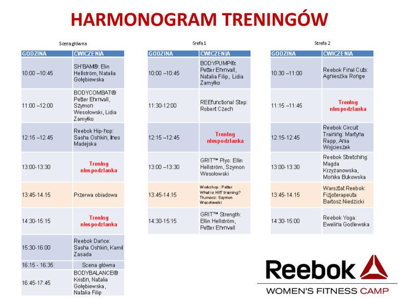 Harmonogram treningów /materiały prasowe