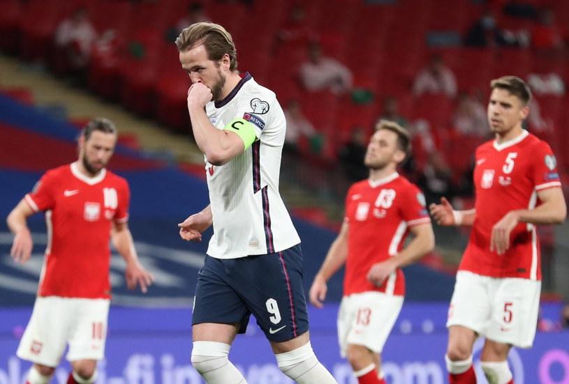 Harry Kane celebrujący gola w meczu Polską /Catherine Ivill /PAP/EPA
