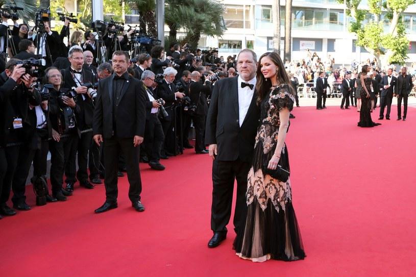 Harvey Weinstein z żoną Georgina Chapman na festiwalu w Cannes (2015) /AFP