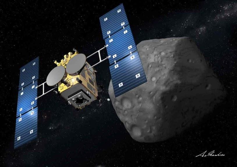 Hayabusa2 przy planetoidzie - wizja artystyczna /materiały prasowe