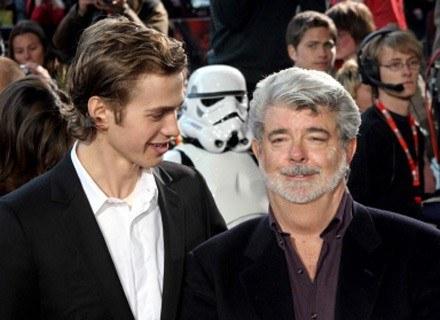 Hayden Christensen w towarzystwie reżysera Georga Lucasa /AFP