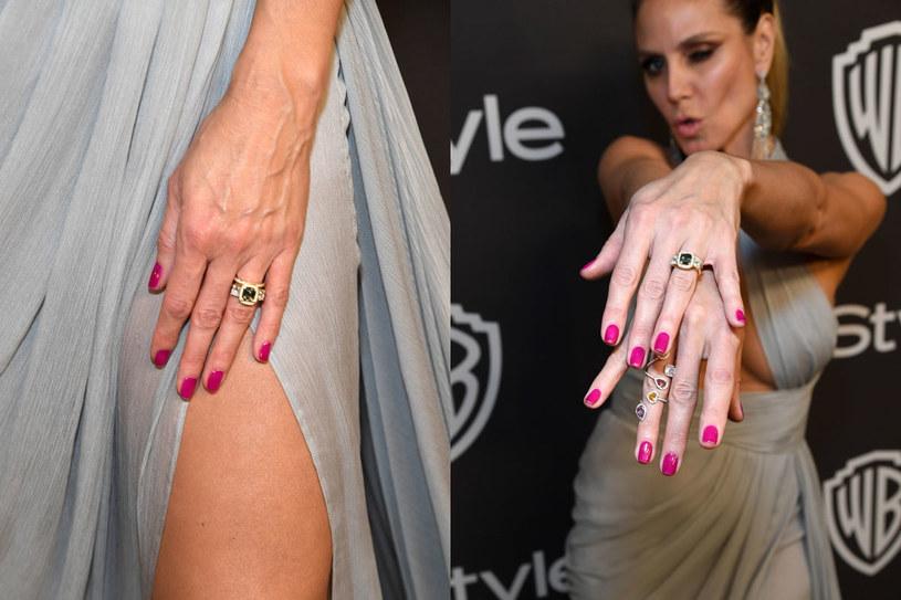 Heidi Klum prezentuje pierścionek zaręczynowy /Getty Images