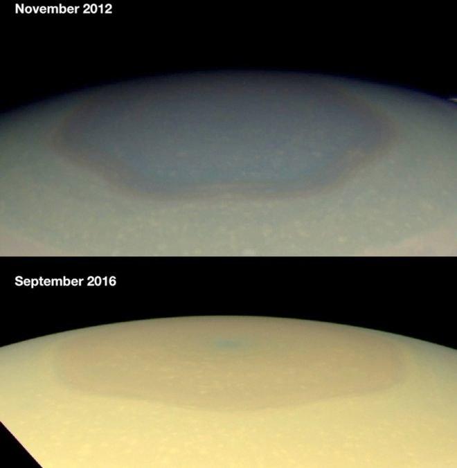 Heksagon na Saturnie zmienił kolor - wiadomo dlaczego /NASA