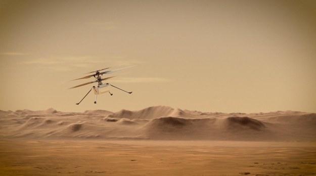 Helikopterek Ingenuity ma wznieść się do 5 metrów ponad powierzchnię Marsa /NASA/JPL-Caltech /Materiały prasowe
