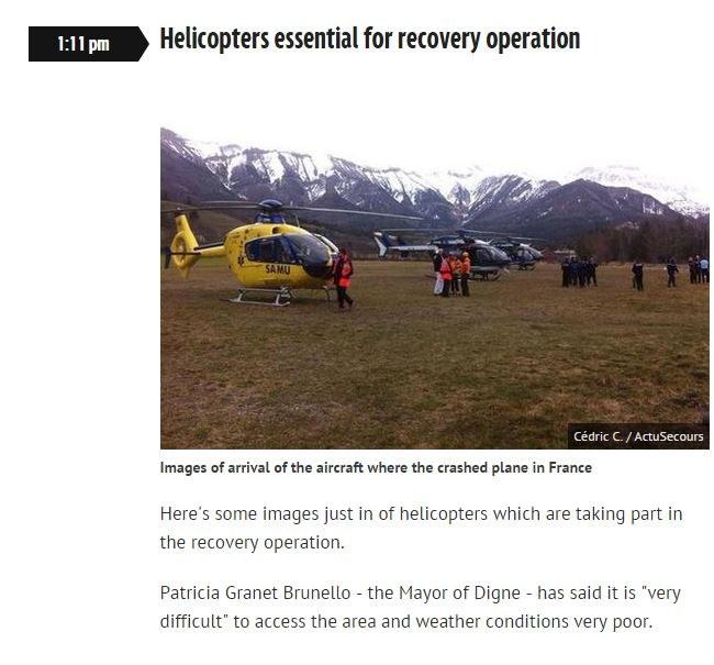 Helikoptery przed wylotem na akcję poszukiwawczą /http://www.mirror.co.uk/ /INTERIA.PL