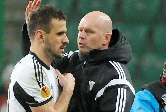 Henning Berg i Orlando Sa po meczu z Trabzonsporem /Bartłomiej Zborowski /PAP