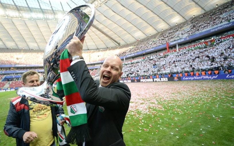 Henning Berg świętuje zwycięstwo /Bartłomiej Zborowski /PAP