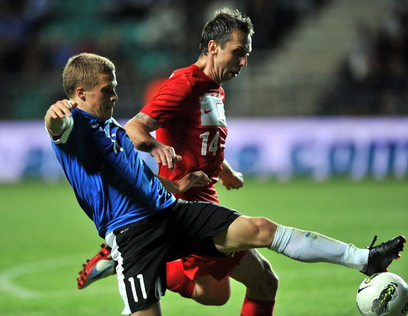 Henrik Ojamaa w meczu z reprezentacją Polski /AFP