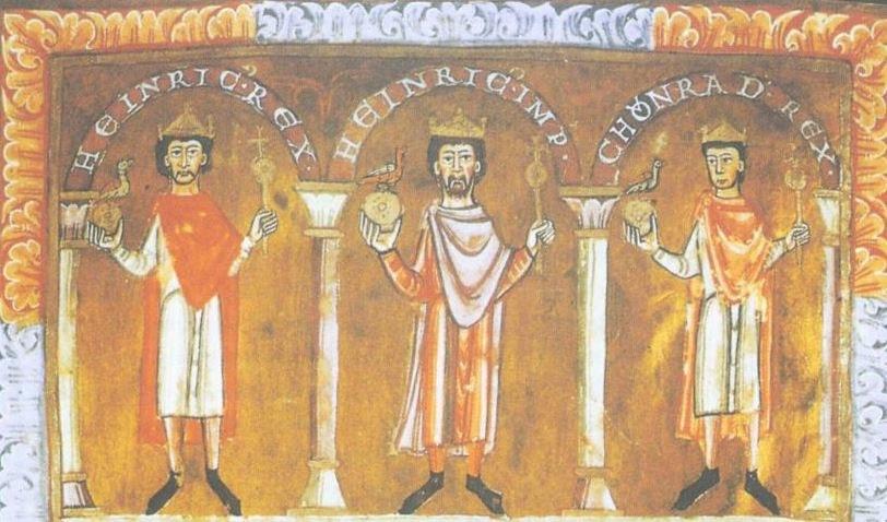 Henryk IV (pośrodku) i jego dwaj synowie. Z prawej – buntowniczy Konrad. Ilusracja z tzw. Ewangeliarza Emmeramskiego /domena publiczna