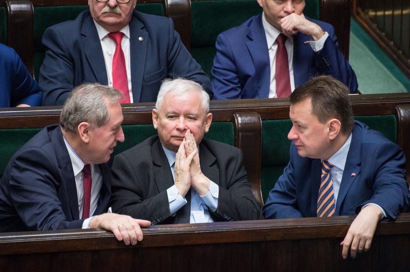 Henryk Kowalczyk, Jaroslaw Kaczynskim Mariusz Blaszczak /Jacek Dominski/REPORTER /PAP