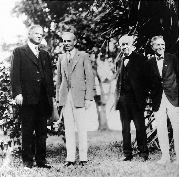 Herbert Hoover, Henry Ford, Thomas Edison i Harvey Firestone, 11 luty 1929 /HERBERT HOOVER LIBRARY /PAP/EPA