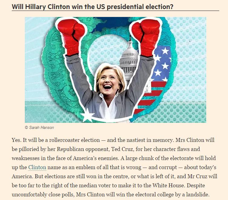 Hillary Clinton prezydentem? Chyba jednak nie... /ft.com /