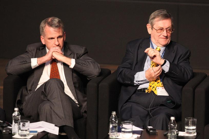Historycy Timothy Snyder (L) z USA i Norman Davis (P) /Piotr Wittman /PAP