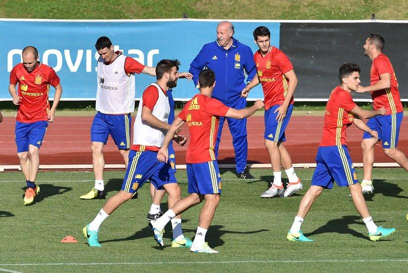 Hiszpańscy piłkarze na treningu pod wodzą Vicente del Bosque /AFP