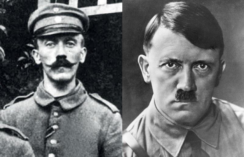 Hitler w czasach I Wojny Światowej (z lewej) i ze skromniejszą wersją charakterystycznych wąsów /East News