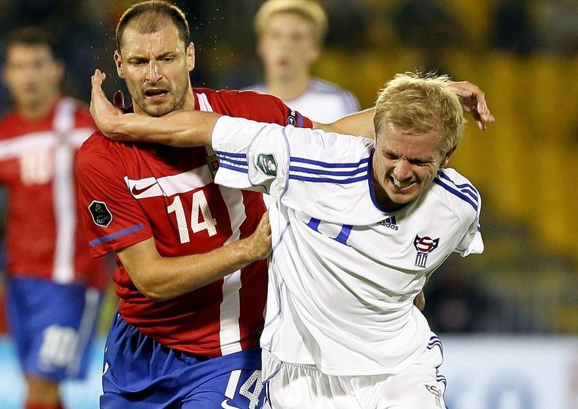 Hjalgrim Eltor z Wysp Owczych (w białym stroju) /AFP