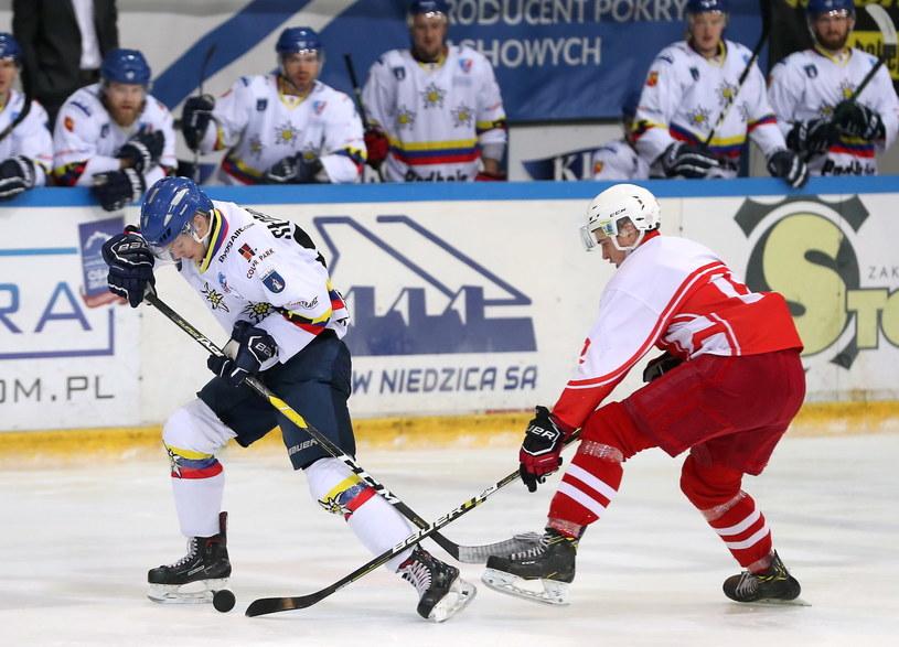 Hokeista Podhala Nowy Targ Adrian Słowakiewicz (L) i Marcin Płachetka (P) z Kadry PZHL U23 / Grzegorz Momot    /PAP