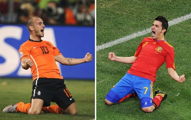 Holender Wesley Sneijder i Hiszpan David Villa /AFP