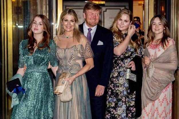 Holenderska rodzina królewska, księżniczka Amalia pierwsza po prawej stronie króla /Utrecht Robin/ABACA /PAP/EPA