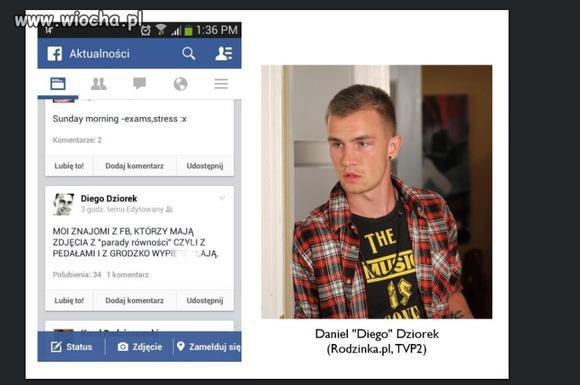 Homofobiczny wpis Daniela Dziorka /Wiocha.pl /materiały prasowe
