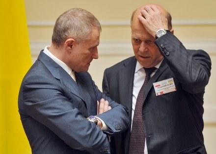 Hryhorij Surkis i Grzegorz Lato (z prawej) /AFP