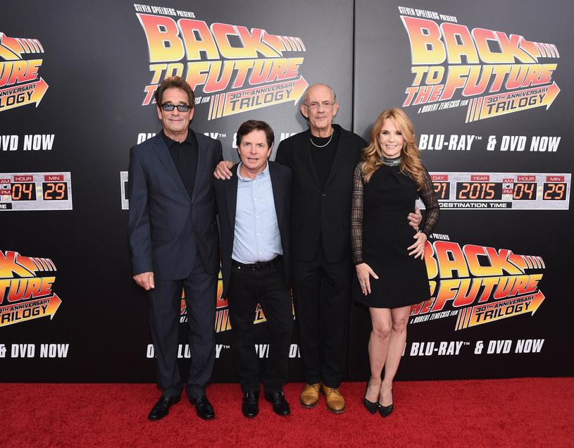 """Huey Lewis, Michael J. Fox, Christopher Lloyd, Lea Thompson - 30. rocznica premiery filmu """"Powrót do przyszłości"""" /Ilya S. Savenok /Getty Images"""