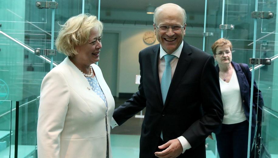 I prezes SN Małgorzata Gersdorf i prezes TSUE Koen Lenaerts / Tomasz Gzell    /PAP