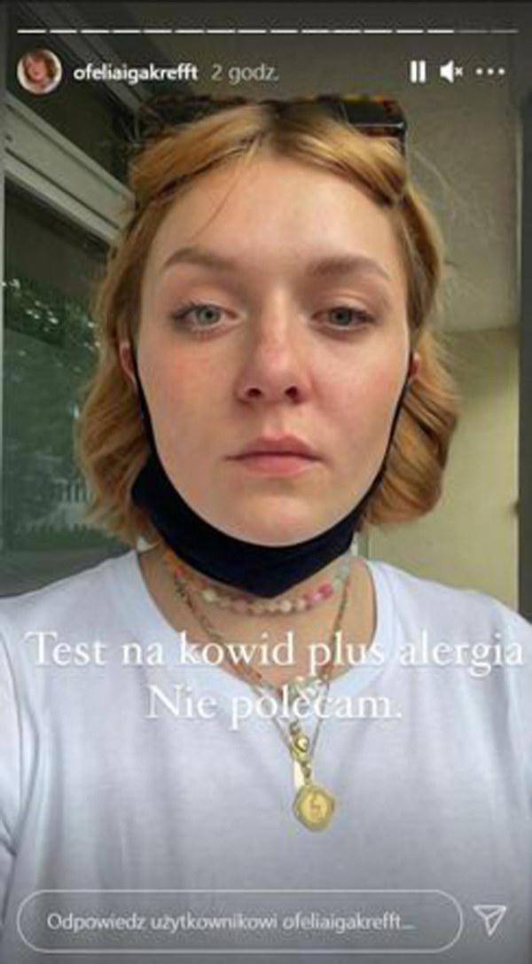 Iga Krefft po teście na koronawirusa (instagram.com/ofeliaigakrefft) /Instagram