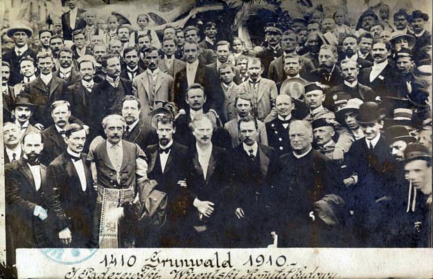 Ignacy Jan Paderewski podczas uroczystości odsłonięcia pomnika grunwaldzkiego w Krakowie 15 lipca 1910 r. /Biblioteka Narodowa