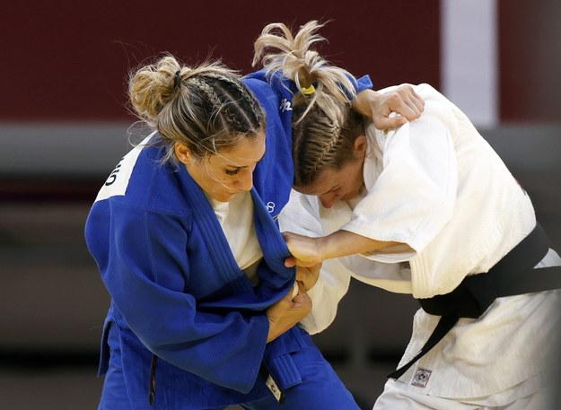 Igrzyska olimpijskie Tokio 2020. Włoszka Maria Centracchio i Agata Ozdoba-Błach w ćwierćfinale olimpijskiego turnieju judo w kategorii 63 kg /RUNGROJ YONGRIT /PAP/EPA